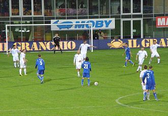 Faroe Islands national football team - Faroe Islands playing against Italy on 2 September 2011. The match ended in a 1–0 defeat.