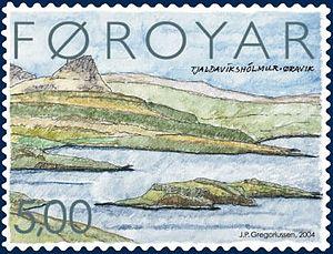 Øravík - Øravík on Suðuroy, Faroe Islands Stamp FO 468 of the Faroe Islands Artist: Jákup Pauli Gregoriussen Issued: 26 January 2004