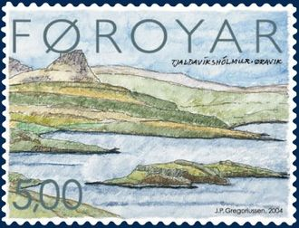 Øravík - Øravík on Suðuroy, Faroe Islands Stamp FO 468 of the Faroe Islands Artist: Jákup Pauli Gregoriussen Issued: 26 January 2004