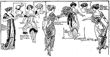 Sketch by Marguerite Martyn of 1911 women's fashion styles Fashion sketch by Marguerite Martyn of women attending the St. Louis Veiled Prophet Ball in 1911.jpg