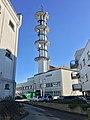 """Fengselet (""""The Prison"""") in Jens Hystadvegen, Leirvik, Stord, Norway. Radio tower (""""Telebygget"""") in Borggata 10. 2018-03-13 b.jpg"""