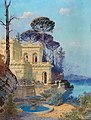 Ferdinand Knab - Villa, a Fountain by the Lake in the foreground.jpg