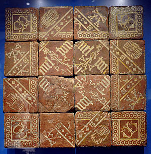 Elizabeth Eames - Early 16th century floor tiles from Southam de la Bere, included in Eames' Catalogue.