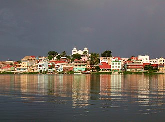 Flores, El Petén - View of Flores from Lake Peten Itza, Petén