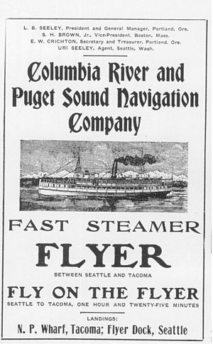 Puget Sound Navigation Company - Advertisement for steamboat Flyer, published sometime between 1891 and 1911