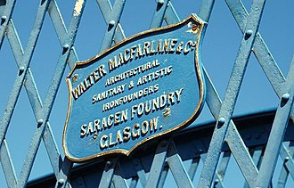 Saracen Foundry - The plaque of the Saracen Foundry, on the bridge at Whitehead railway station, Northern Ireland