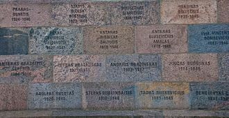 Forest Brothers - Wall of former KGB headquarters in Vilnius inscribed with names of those tortured and killed in its basement.
