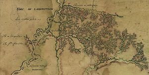 Fort Assumption - Location of Fort Assumption on a 1743 map