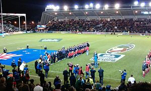 2009 Rugby League Four Nations - The national anthems at the first game between Australia and New Zealand