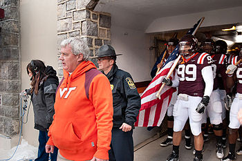 Frank Beamer prepares to lead the Virginia Tec...