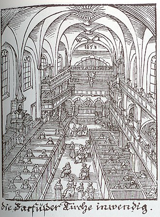 Cantata Cycle 1716–1717 (Telemann) - Interior of the Barfüßerkirche in Telemann's time.