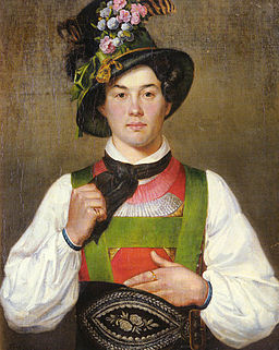 Franz von Defregger A young man in tyrolean costume