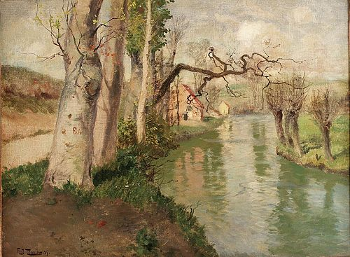 THAULOW, Frits From Dieppe, France, with the river Arques, 1895