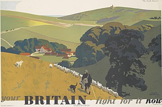 United Kingdom home front during World War II - One of a series of posters by Frank Newbould, intended to arouse patriotic feelings for an idealised pastoral Britain.