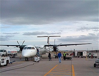 Lynx Aviation - Bombardier Dash 8 (Q400) as operated by Lynx Aviation on behalf of Frontier Airlines at Denver International Airport.