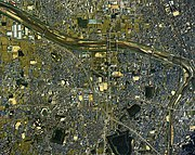 Fujiidera city center area Aerial photograph.1985.jpg