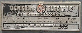 GE U25B - Image: GE U25B plate
