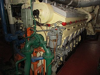 EMD 567 - A GM EMD 12-567ATLP diesel engine as installed in LST 393 (Landing Ship Tank), located in Muskegon, Michigan, July 2017