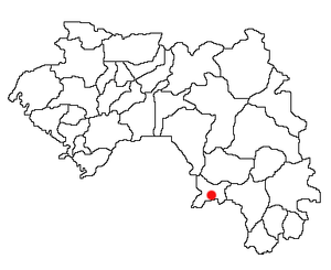 Location of Guéckédou Prefecture and seat in Guinea.