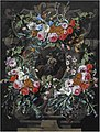 Gaspar Peeter Verbruggen (I) - The Mocking of Christ surrounded by a sculpted cartouche with a garland of holly, thistles, morning glory, and other flowers on a stone ledge.jpg