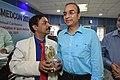 Gaurav Gupta Receiving Memento from Dileep Basumazumder after Delivering lecture - Shoulder Injuries in Sports - SPORTSMEDCON 2019 - SSKM Hospital - Kolkata 2019-03-17 3709.JPG