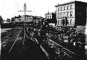 Trams in Geelong - Laying tracks in Malop Street, 1912