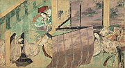 "Illustration of ch.50 -- 東屋 Azumaya (""Eastern Cottage""). (12th century Tokugawa Art Museum handscroll)"