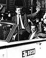 George Bush rides with friend, Will Farish, in the Texas Senate race, 1964.jpg