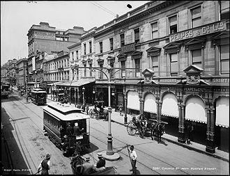 Trams in Sydney - Early model electrified trams on George Street near Hunter Street
