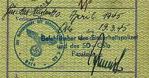 Sicherheitsdienst - German passport extended by the SD in Norway, March 1945.