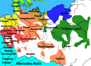 The Germanic tribes in the mid-1st century AD. The Vandals/Lugii are depicted in green, in the area of modern Poland.