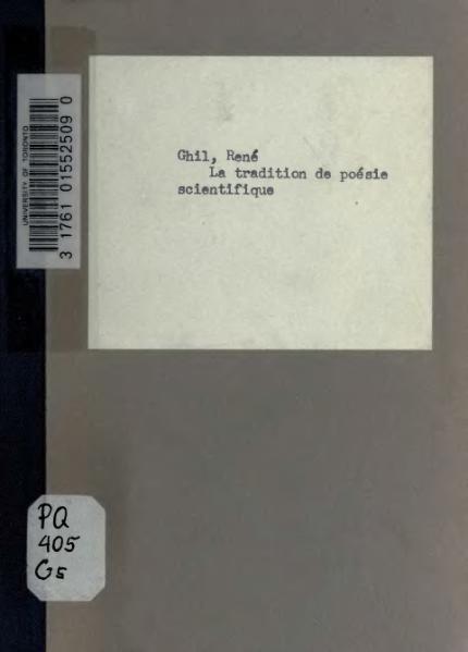 File:Ghil - La Tradition de poésie scientifique, 1920.djvu