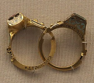 Gimmal ring - A Gimmal ring with the hoop opened