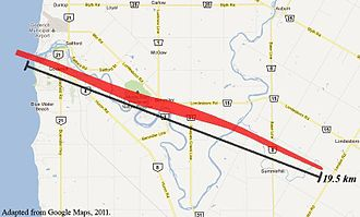 2011 Goderich, Ontario tornado - Map of the tornado's track across Huron County