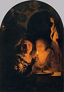 Godfried Schalcken - Lovers Lit by a Candle - WGA20947.jpg