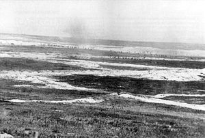 Gordon Highlanders - British troops, believed to be the 2nd Battalion, The Gordon Highlanders (20th Brigade, British 7th Division) crossing no man's land near Mametz on 1 July 1916, the first day of the Battle of the Somme.