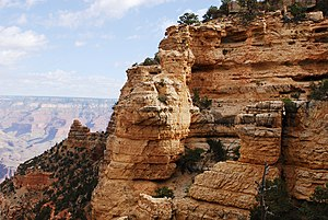 Kaibab Limestone - Bedded and jointed cliffs of the Kaibab Limestone at the Grand Canyon.  (high resolution, expandable photo)