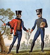 Two French 4th Hussars wear blue jackets and trousers. One trooper has a red pelisse thrown over his shoulder.