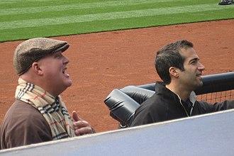 Matt Vasgersian - Mark Grant (left) and Vasgersian in the dugout at Petco Park before a 2008 Padres game