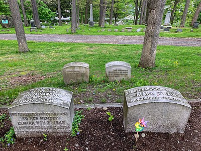Graves of Olivia Langdon Clemens and Mark Twain