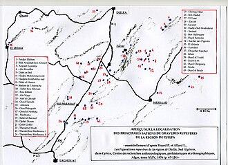 Rock art of the Djelfa region - Image: Gravures préhistoriques, Djelfa, carte