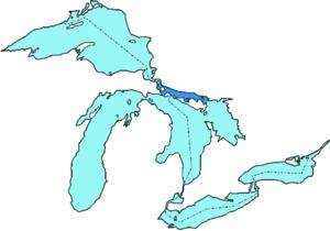 North Channel (Ontario) - North Channel marked in dark blue.