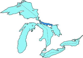 North Channel (Ontario) - North Channel marked in dark blue.
