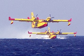 Canadair CL-415 - Two Hellenic Air Force CL-415 refilling off the coast of Atlit to fight the 2010 Mount Carmel forest fire
