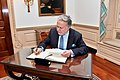 Greek Acting Foreign Minister Katrougalos Signs Secretary Pompeo's Guestbook (45393019405).jpg