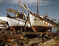 Greek sponge boats on ways in Tarpon Springs, Florida.jpg