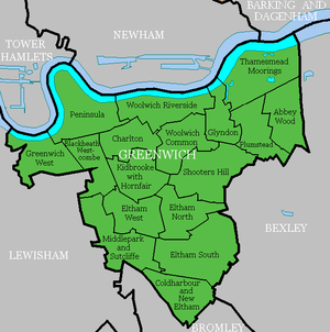 Royal Borough of Greenwich - Map showing the borders of London Borough of Greenwich and its 17 wards
