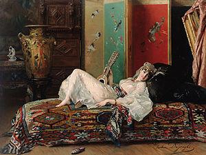 Gustave Léonard de Jonghe - A reclining odalisque