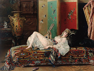 Odalisque - A Reclining Odalisque, painted by Gustave Léonard de Jonghe, c. 1870