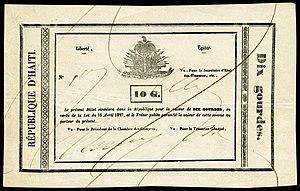 Haitian gourde - Republique d'Haïti, 10 Gourdes (1827).